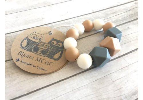 Bijoux MCC Jouet de dentition Macareux Avoine-Blanc-Gris