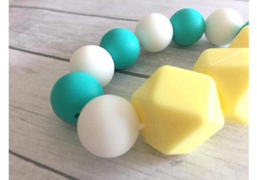 Bijoux MCC Jouet de dentition Turquoise-Jaune crème-Blanc