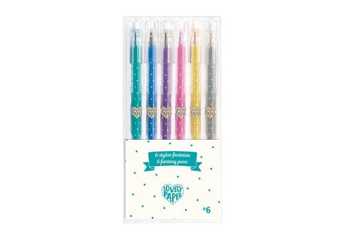 Lovely Paper 6 crayons gel paillettes
