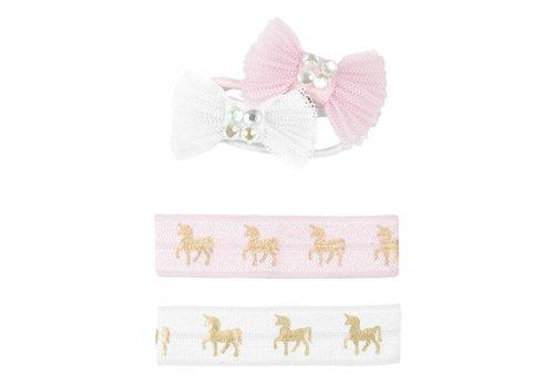 creative education Pink Unicorn Hair Ties & Bows, Set of 4
