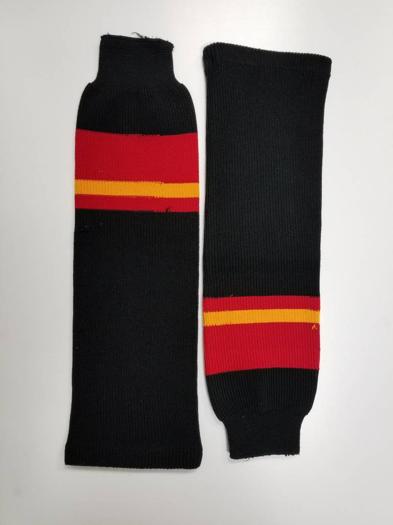 Hockey Socks, Black, red, yellow, One Size