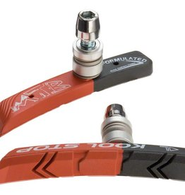 Kool-Stop Dual Compound Mountain Brake Shoe Threaded for Linear Pull, Black and Salmon Compound