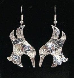 Chance Adrian Gesinghaus Cut Out Hummingbird Silver Earring