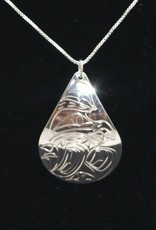 Nancy Dawson Wolf Teardrop Silver Necklace