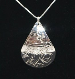 Nancy Dawson Wolf Teardrop Silver Necklace