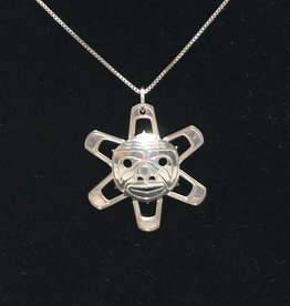 Vincent Henson Sun Mask Silver Necklace