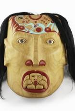 Alexander, Cherrish Mother & Child Mask - glass eyes, alder wood