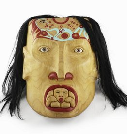 Alexander, Cherrish Mother & Child Mask - glass eyes, alder wood