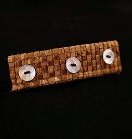Brown, Mona Cedar Hair Clip - 3 shell buttons