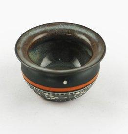 Leach, Patrick Orange, black  white pottery #0333