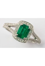 Emerald & Diamond Ring 18KW