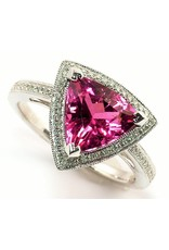 Rubellite Tourmaline & Diamond Ring  14KW