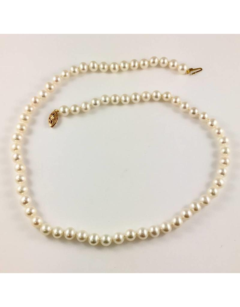 Freshwater (6-6.5mm) Pearl Necklace (Yellow Gold Clasp)