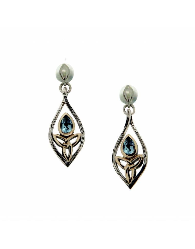 Keith Jack Blue Topaz Guardian Angel Earrings SS/10KY