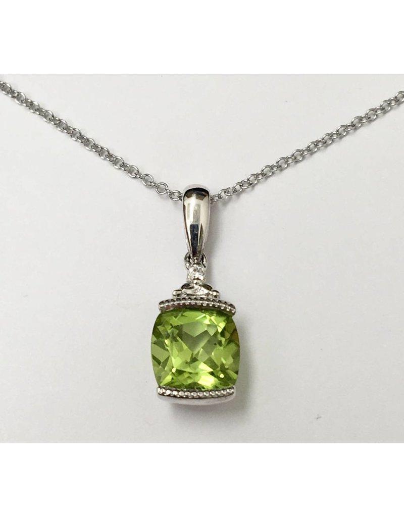 Peridot & Diamond Pendant 10KW