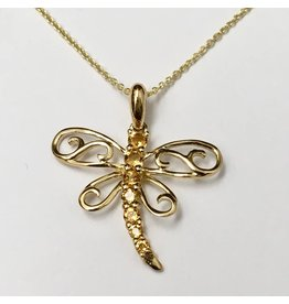 Citrine Dragonfly Pendant