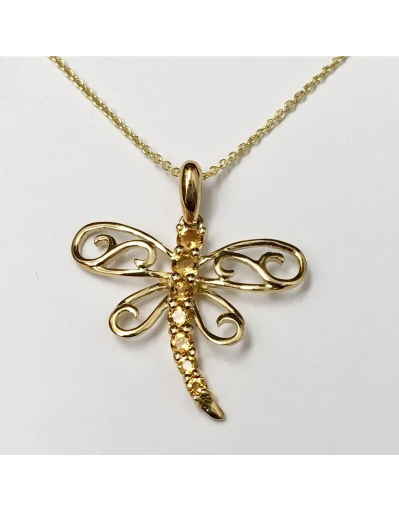Citrine Dragonfly Pendant 10KY