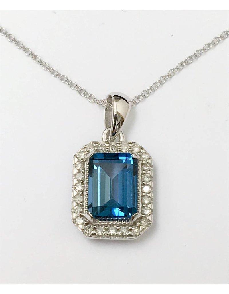 London Blue Topaz & Diamond Pendant 10KW