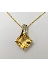 Citrine & Diamond Pendant 10KY