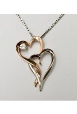 Double Heart Diamond Pendant 10KRW