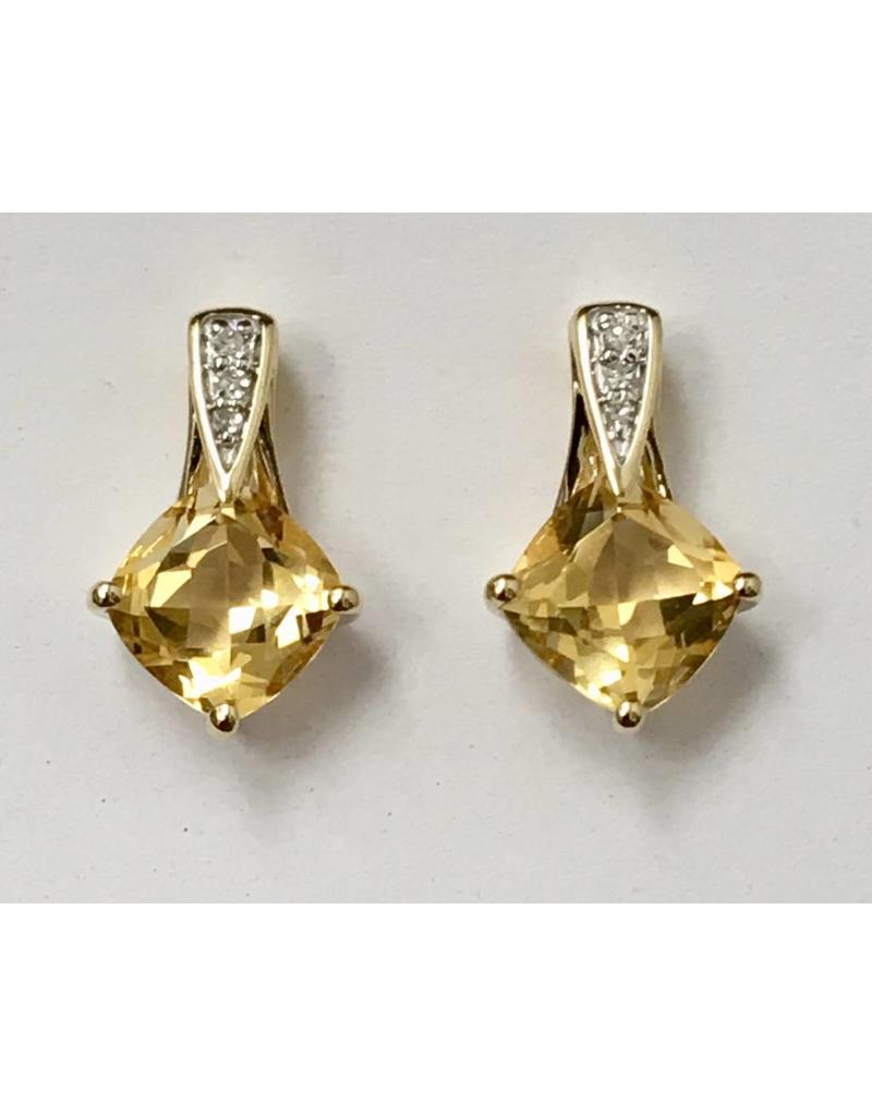Citrine & Diamond Earrings 10KY