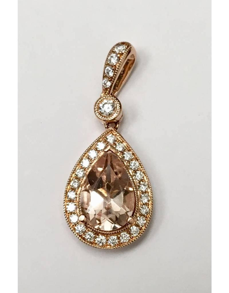 Morganite & Diamond Pendant 14KR