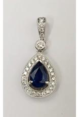 Sapphire & Diamond Pendant 14KW