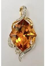 9.73ct Citrine & Diamond Pendant 14KY