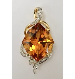 9.73ct Citrine & Diamond Pendant