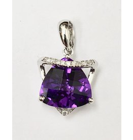 2.20ct Amethyst & Diamond Pendant