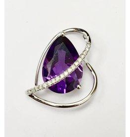 3.04ct Amethyst & Diamond Pendant