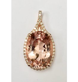 7.44ct Morganite & Diamond Pendant