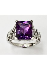 4.15ct Amethyst & Diamond Ring 14KW