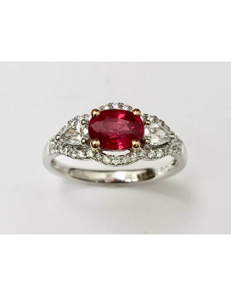 1.19ct Ruby & Diamond Ring 18KWR