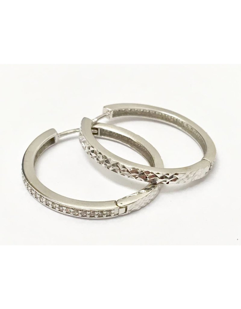 23mm CZ Hoop Earrings 10KW