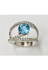 Blue & White CZ Ring SS