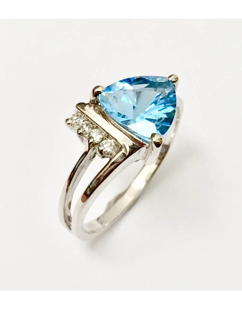 1.90ct Blue Topaz & Diamond Ring 14KW