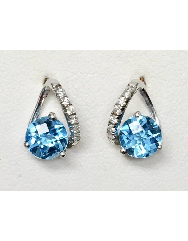 Topaz & Diamond Earrings 14KW