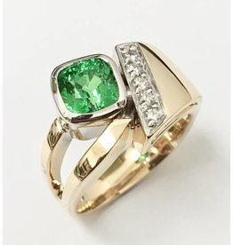 Custom Tsavorite & Diamond Ring