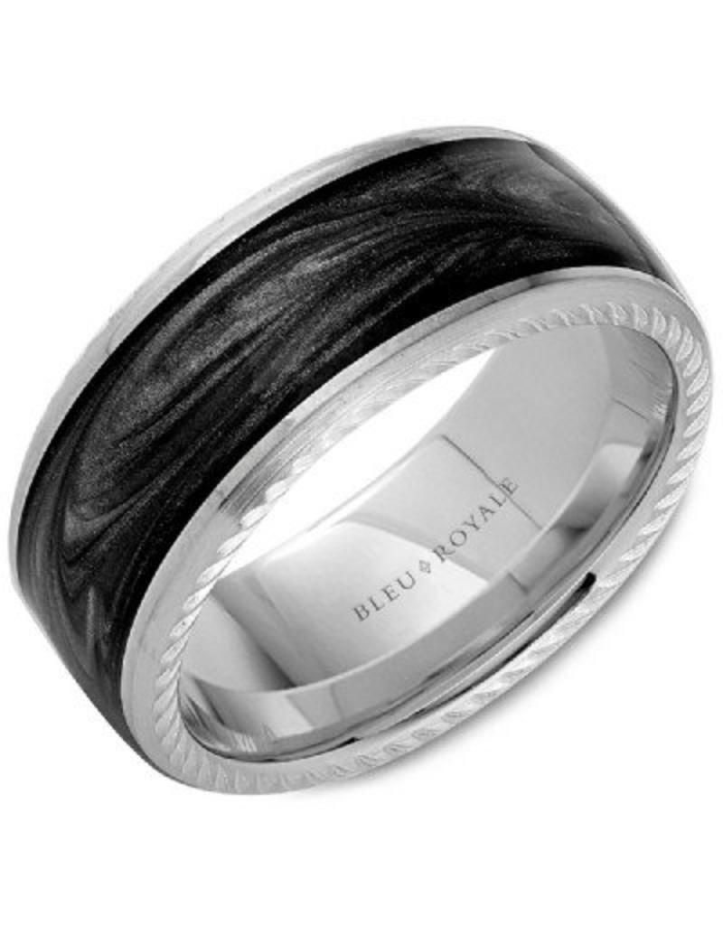 Crown Ring Charcoal Gray Enamal & 14KW Ring (Bleu  Royale)