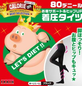 小豬襪肥蘿蔔byebye超級階段式著壓美腿褲襪(黑色80丹尼)