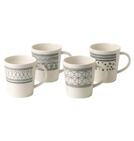 Royal Doulton ED Charcoal Grey Mug set/4 mixed