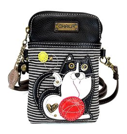 Chala Cellphone Crossbody Fat Cat Black Stripe