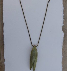 "Michael Michaud Design Eucalyptus Long Double Leaf Pendant23"" chain"