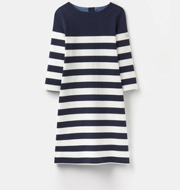 Joules Joules Dark Blue Striped Dress - Denim Trim