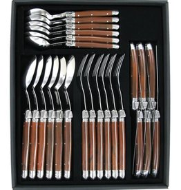 Laguiole 24 Piece Utensil Set Olive Wood