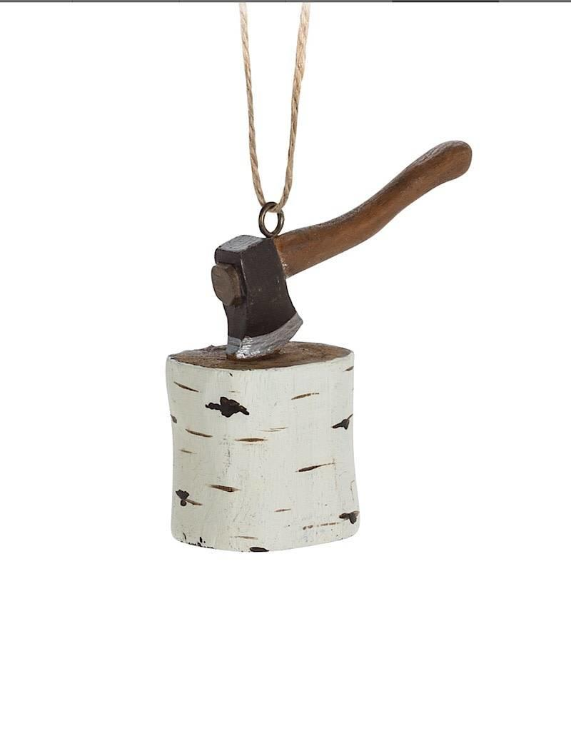 27-WINTER-7234 Birch Stump With Axe Ornament