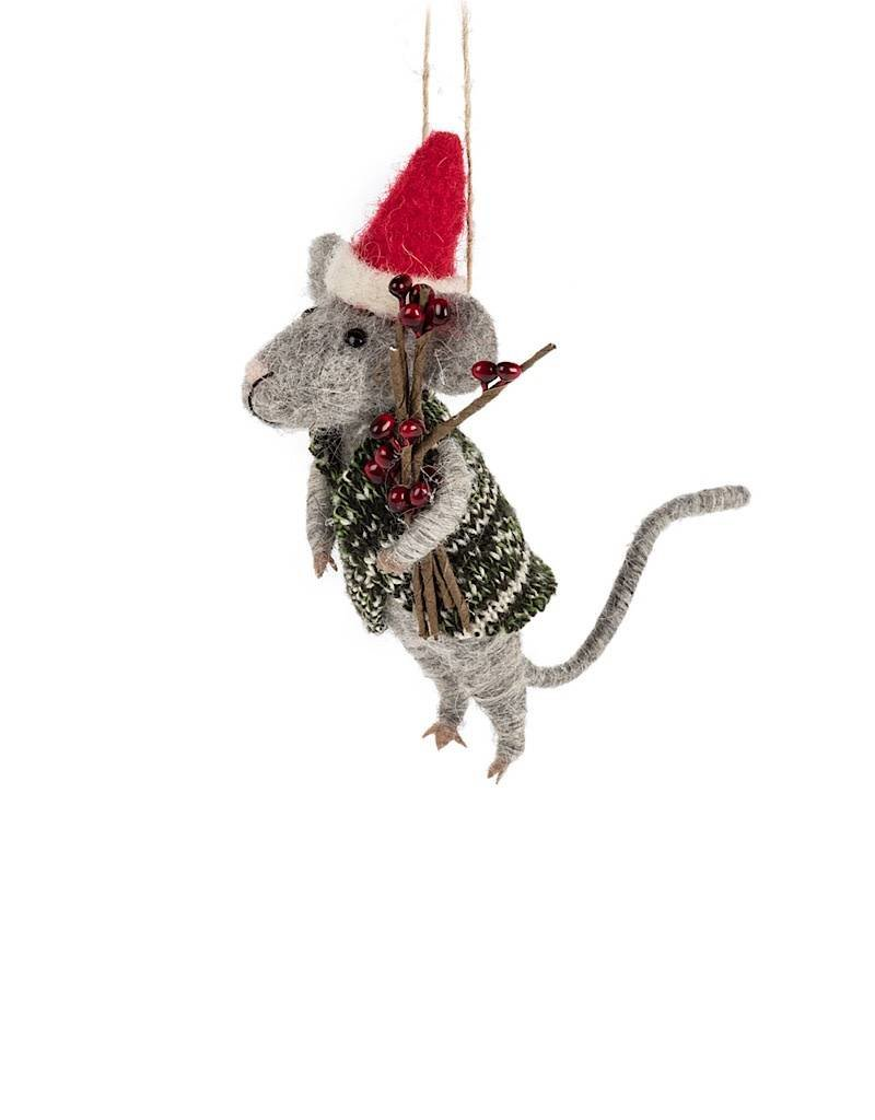 27-MERINO/753 Mouse In Santa Hat & Sweater