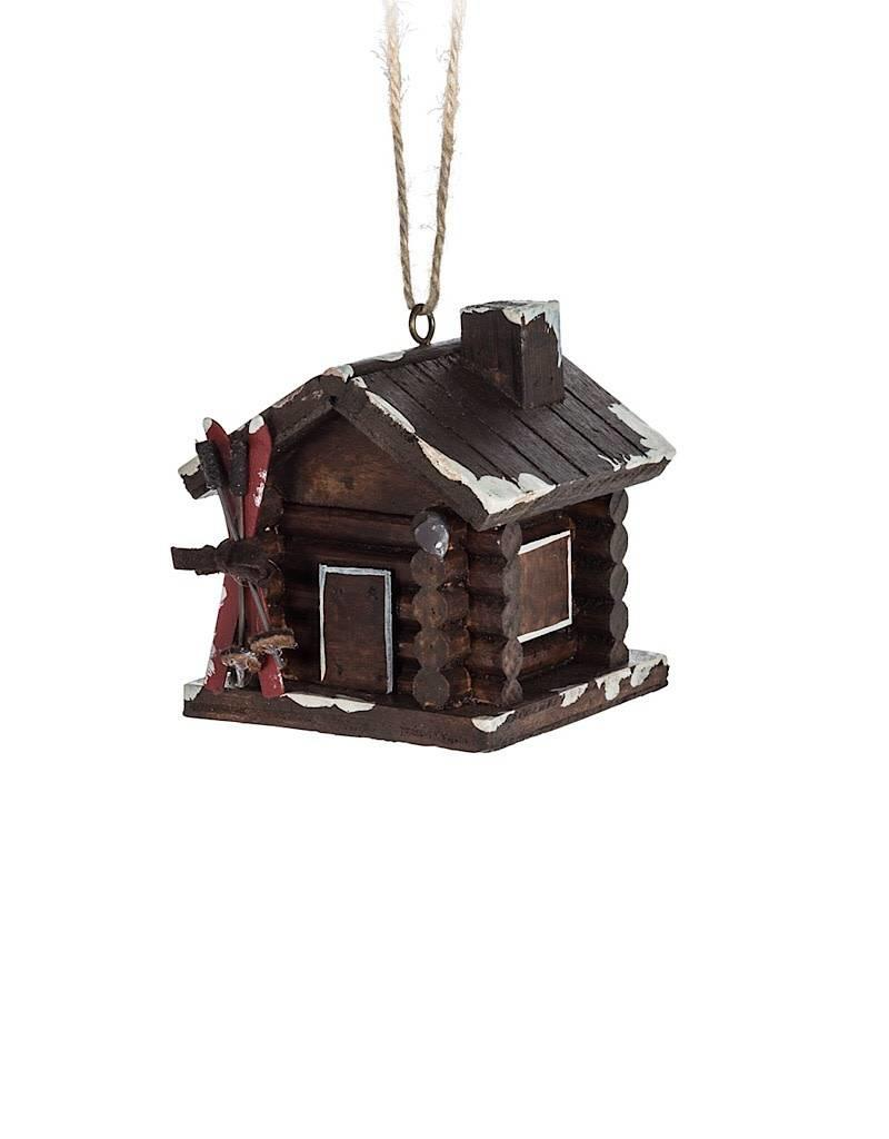 27-WINTER-7420 Cabin With Skis Ornament