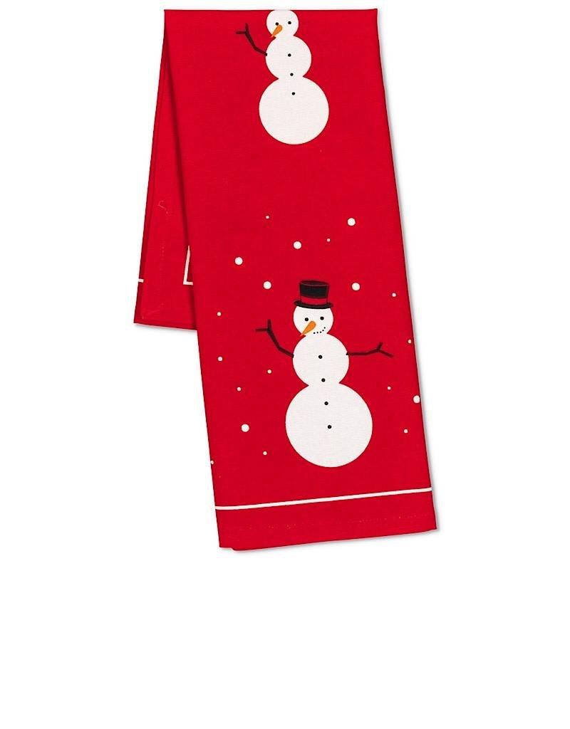 56-KT-ABX-10 Snowman Building Tea Towel